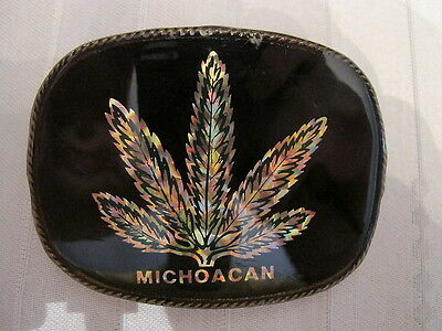 Marijuana Pot Weed Drugs Vintage Belt Buckles Brass and Lacquer Michoacan Mexico
