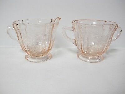Indiana Madrid Pink Footed Creamer And Sugar Reproduction