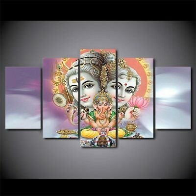 Shiva Parvati Ganesha Hindu 5 Pieces Canvas Wall Decorating Home Decor Poster