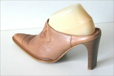 Joe Sanchez Mûles Pointed Heels Brown Leather Clear T 40 Very Good Condition
