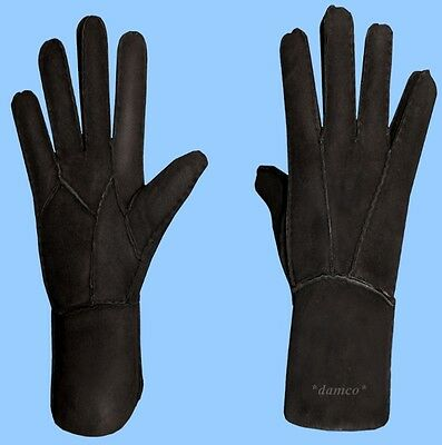 NEW WOMENS size 7 -Med BLACK SHEARLING LAMBSKIN SUEDE LEATHER GLOVES -FUR LINED