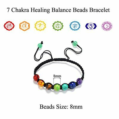 7 Chakra Healing Balance Bead Braided Lava Yoga Reiki Prayer Stones Bracelet Hot
