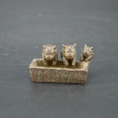 Chinese old collection handwork red copper pigs Tea pet statue