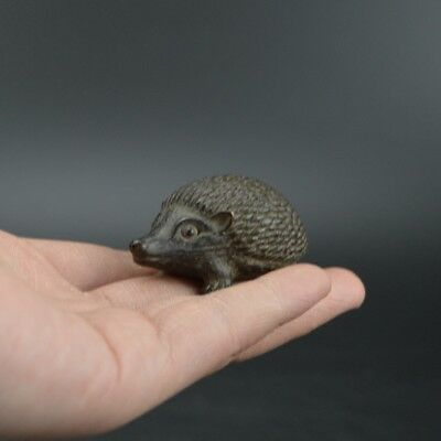 Chinese old collection handwork red copper Hedgehog Tea pet statue