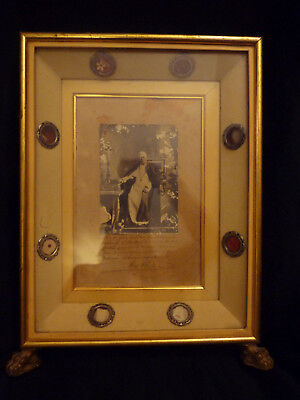 RELIQUARY Saint Pope PIUS X SIGNED benediction with 8 CLOTH RELICS OF PIUS X