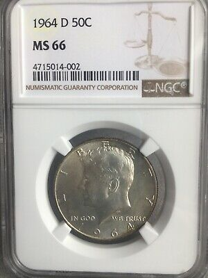 1964 D Kennedy Half Dollar MS66 With Toning