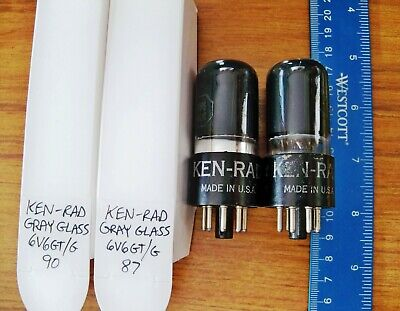 2 Strong Matched KEN-RAD Gray Glass 6V6GT/G Tubes