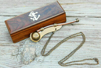 Bosun's Whistle Antiqued Brass Boatswains Pipe with Storage Box GIFT