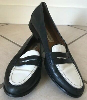 58f0514d291 ETIENNE AIGNER MICHELLE Two Tone Navy White Loafers Flat Shoes Size ...