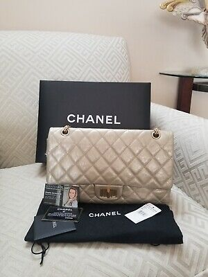 9f62b65eced923 Authentic Chanel Classic 2.55 Reissue 227 Gold Aged Calfskin Double Flap Bag