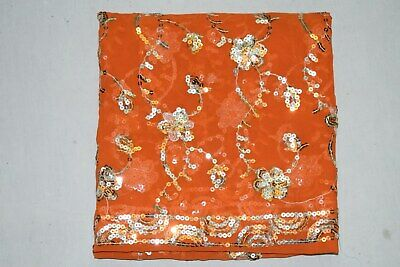 Rare Decorative Indian Wedding Dupatta Scarf Sequins Embroidery Georgette Veil L