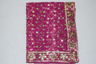 Vintage Indian Style Wedding Embroidered Georgette Dupatta Veil Stole Hijab L""