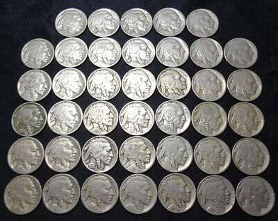 Roll 1917-1938D Buffalo Nickels, Lot of 40 Mixed Date Indian Head US Coins