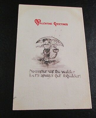 Old Greeting Postcard---<VALENTINE GREETINGS>---[1912]