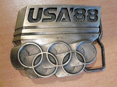 Vintage '80s Brass Belt Buckle Olympics 1988 USA '88 Olympic Rings
