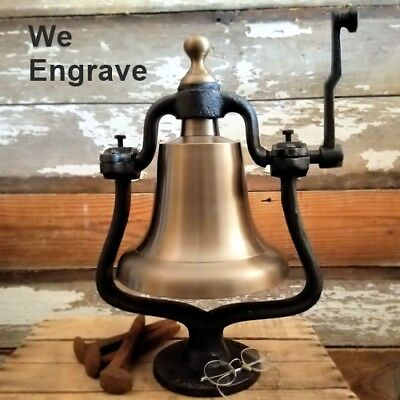 Large Antiqued Brass Railroad Bell!~30 LBs Solid Brass bell with FREE ENGRAVING!