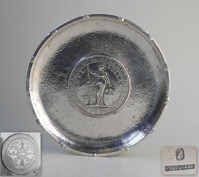 Chinese export sterling silver 1911 British Trade Dollar coin tray coaster dish