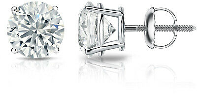 14k Gold Round Diamond Stud Earrings 4-Prong Basket-Screw Backs (1 4-2 Cttw,