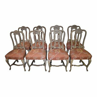 Set of Eight Vintage Venetian Style Carved Dining Chairs