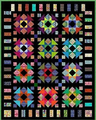 """QUIRKY WORK - 85.5""""x 68"""" - Quilt-Addicts Pre-cut Patchwork Quilt Kit King Single"""