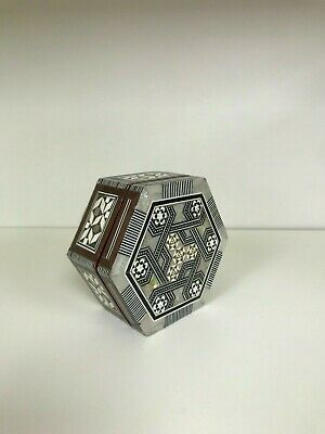 Vintage Wooden Trinket Box Jewelry From Porcelain Intricate Geometric Hand Made