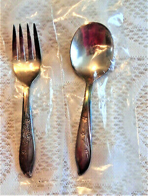 IS Silverplate SPRINGTIME  Baby Spoon & Baby Fork New in Plastic Slips