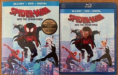 Marvel Spider Man Into The Spider Verse Blu Ray Dvd 2 Disc Set + Slipcover Sleev
