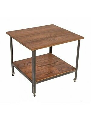 1940S Mobile Two-Tier Low-Lying Table With Newly Added Oak Wood Top + Undershelf