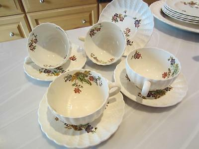 4 Vntg COPELAND SPODE WICKER LANE Tea Coffee CUPS & SAUCERS Earthenware #2/7519