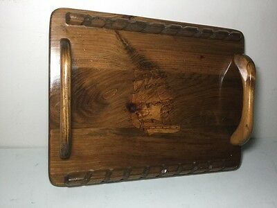 Antique Handmade Hand Carved Inlaid Ship Boat 2 Handle Wood Serving Tray Platter