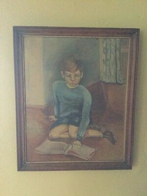 1939 Antique Hand Painted Signed Framed Art Painting Of Boy Reading On Floor