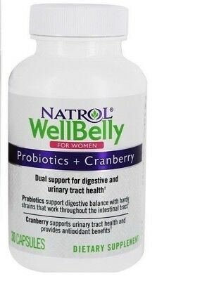 Natrol WellBelly Probiotics Cranberry For Women 30 Capsules Exp 1-2020