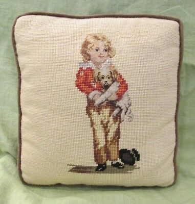 Antique Victorian BOY WITH DOG and top hat Needlepoint Pillow Child Puppy