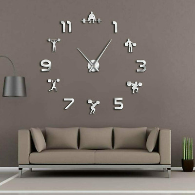 Weightlifting Fitness DIY Giant Wall Clock PowerLifting Gym Large Wall Sticker