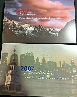 2007 US Mint Uncirculated Coin Sets - Philadelphia and Denver (28 coins)