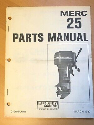 1980 Merc Mercury 25HP Marine Outboard Engine Parts Manual List Catalog