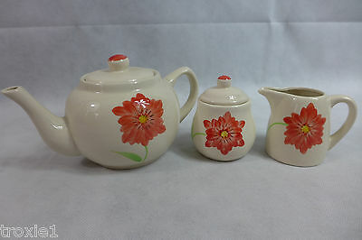 Gold Coast Ceramic Teapot Set Sugar And Creamer Floral 3 Pieces 507A In Box New