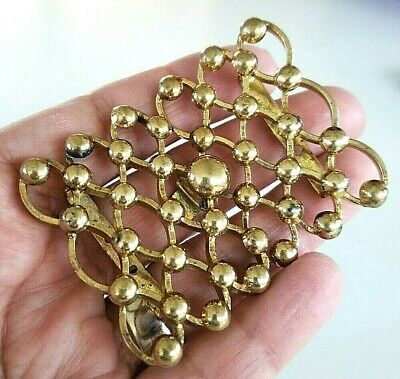 "Vintage 1940s 2 Piece Brass Belt Buckle 2.5"" Hook Clasp Dome Pattern"