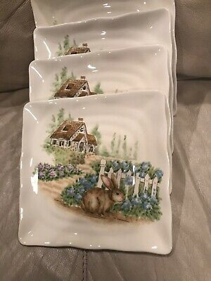 Maxcera Square Easter Bunny Rabbit House Holiday Salad Dessert 4 Plates Dishes