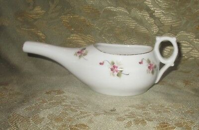 Antique, Delicate Floral Design Invalid Feeder, Pap Boat for Child, Unknown Age