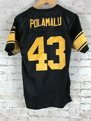 low priced 99060 df3fd YOUTH PITTSBURGH STEELERS Troy Polamalu Jersey Size Large Sewn Stiched NFL  Black