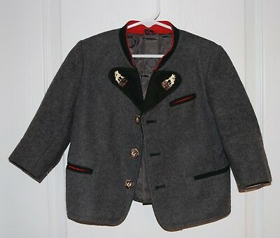 Vintage Boys German Trachten Loden Hajek Wool Moose Button Jacket