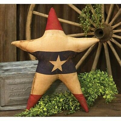 NEW!!! Primitive Country Farmhouse Large Grungy AMERICAN FLAG STAR Shelf Sitter