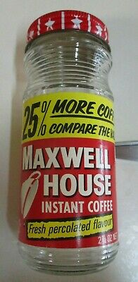 Vintage Maxwell House - Coffee Jar with Label & Lid - Two & a Half Ounce - 1960s