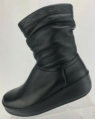 1dcfe212f7a5 Fitflop Ankle Boots Crush Black Zip Wedge Heel Platform Slouch Booties  Womens 8