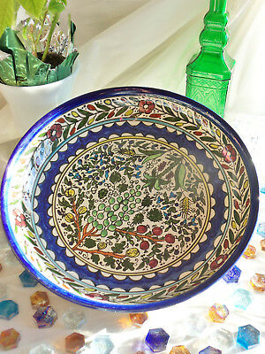 """Rare 13"""" Large VTG ISRAEL POTTERY BOWL Hand Painted FIGS & OLIVES Stoneware Art"""