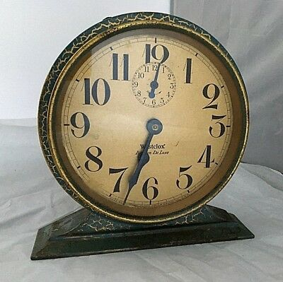 ANTIQUE Edwardian WESTCLOX BIG BEN DELUXE rare crackle effect alarm clock 6""