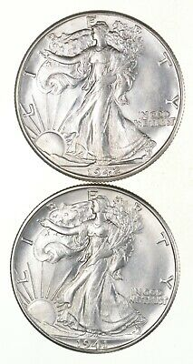 Lot (2) 1941-D & 1942-D Walking Liberty Half Dollars *2748