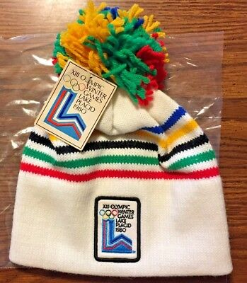 vtg XIII OLYMPIC WINTER GAMES LAKE PLACID 1980 OLYMPICS TASSEL CAP HAT NEW w/TAG