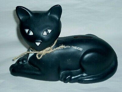 Black Eveready Cat Bank BLOW MOLD PLASTIC 9""